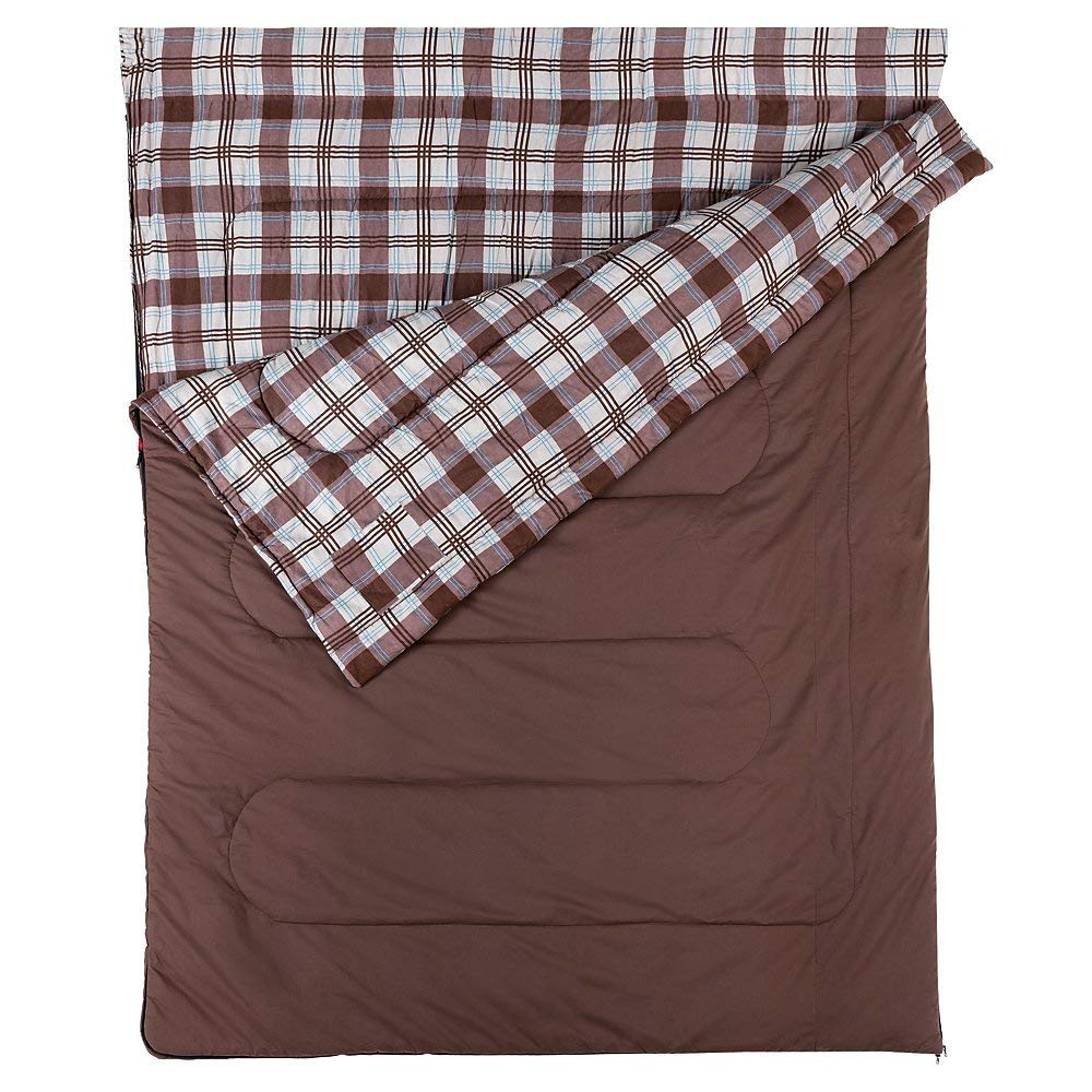 An image of Coleman Hampton Double 205140 40 Degree Cotton Flannel Sleeping Bag