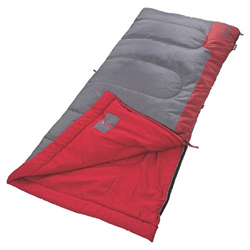 An image related to Coleman Bannack 50 Degree Sleeping Bag-Red/Gray Men's 50 Degree Sleeping Bag