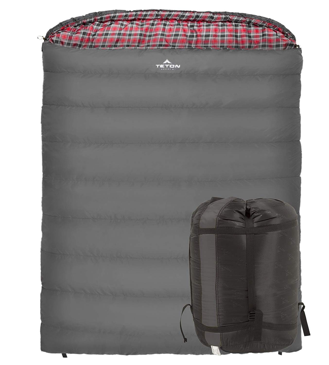 An image related to Teton 110 Mammoth Gray 7 Ft. 10 in. Couple Poly-Flannel Mummy Camping Thermal Sleeping Bag
