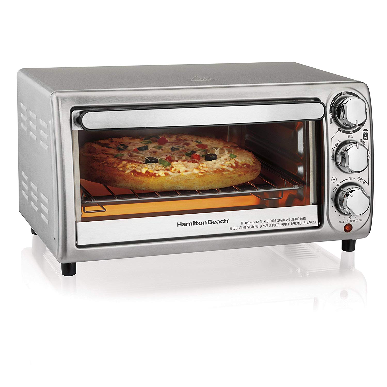 Waring WTO150 4-Slice Toaster Oven with Built-In 2-Slice Toaster Renewed