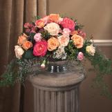 Garden Mixed Rose Pedestal Arrangement