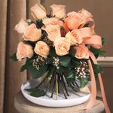 Peach Hand-Tied Rose Bouquet