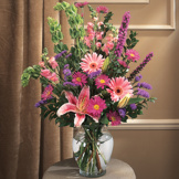 Pink, Lavender, & Green Vase Arrangement