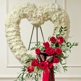 Red & White Standing Open Heart - White Carnations - Red Roses