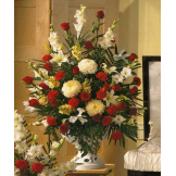 Red and White Bouquet in Large Urn
