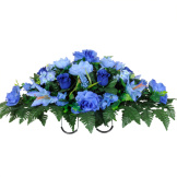 Blue Rose Buds, Stargazer Lilies and Hydrangea (Silk Cemetery Flowers)