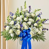 Blue & White Sympathy Standing Basket