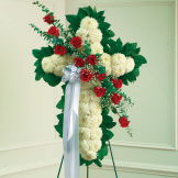Red & White Standing Cross With Red Rose Break