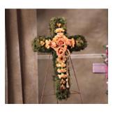 Peach Flower & Moss Standing Cross