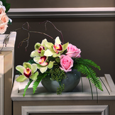 Orchid & Rose Tabletop Arrangement