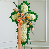 Peach, Orange & White Standing Cross With Peach Rose Break