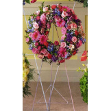 Pink and Blue Wreath Standing Spray