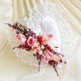 Multicolor Pastel Satin Heart Casket Pillow