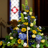 Fireside Basket - Blue, Yellow and White