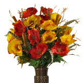 Red and Orange Poppy Mix (Silk Cemetery Flowers)