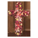 Mixed Pink Flower Standing Cross