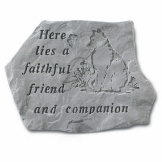 Garden Accent Stone- Here lies a faithful…w/cat