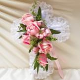 Pink Satin Cross Pillow