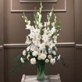 White Gladiolas Sympathy Arrangement