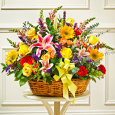 Sympathy Arrangement In Basket (Large) - Multicolor Bright Mixed Flowers