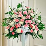 Pink & White Sympathy Standing Basket