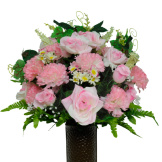 Pink Rose and Carnation Mix (Silk Cemetery Flowers)