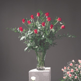 Flared Red Rose Vase Arrangement