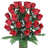 Red Roses (Silk Cemetery Flowers)