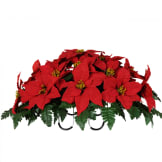 Red Poinsettia Saddle (Silk Cemetery Flowers)