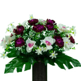 Violet Cabbage Rose and White Orchid