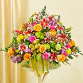 Sympathy Arrangement In Basket (Large) - Multicolor Pastel Mixed Flowers