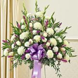 Lavender & White Sympathy Standing Basket