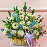 White Large Sympathy Arrangement In Basket
