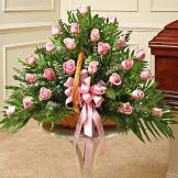 Pink Rose Fireside Basket