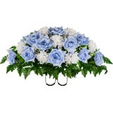 Light Blue Open Rose with White Mum (Silk Cemetery Flowers)