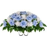 Light Blue Open Rose with White Mum (Silk Cemetery Flowers)