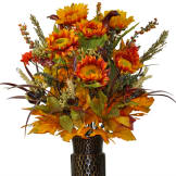 Orange and Yellow Sunflower Mix (Silk Cemetery Flowers)