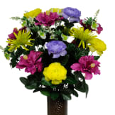 Purple Hibiscus, Ranunculus, and Daisy Mix (Silk Cemetery Flowers)