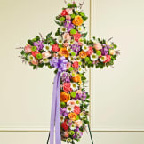 Multicolor Pastel Mixed Flower Standing Cross