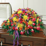 Multicolor Bright Mixed Flower Half Casket Cover