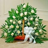 White Rose Fireside Basket
