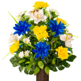 Blue and Yellow Orchid Mix (Silk Cemetery Flowers)