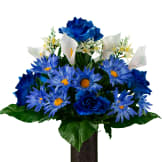 Blue Daisy and Rose with White Calla Lilies (Silk Cemetery FLowers)