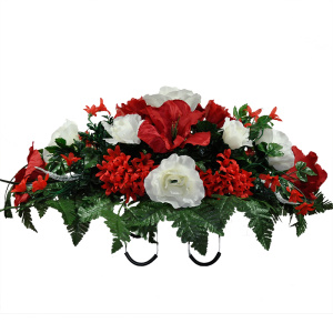 Red amaryllis White Rose Mix (Silk Cemetery Flowers)