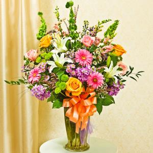 Multicolor Pastel Large Sympathy Vase Arrangement
