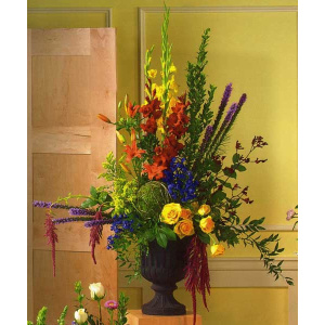 Red & Yellow Floral Bouquet in Giant Urn