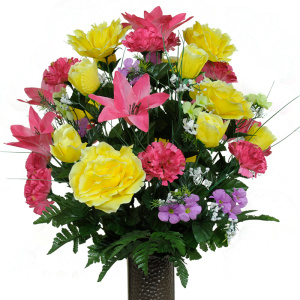 Pink Lily and Yellow Rose Mix (Silk Cemetery Flowers)