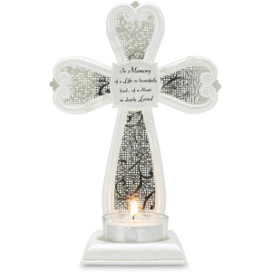 "In Memory - 7"" Cross Tea Light Holder"