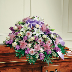 Lavender & White Mixed Half Casket Cover