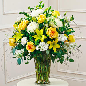 Yellow and White Large Vase Arrangement